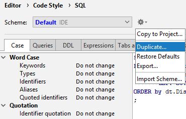db create code style