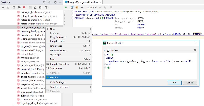 db run stored functions