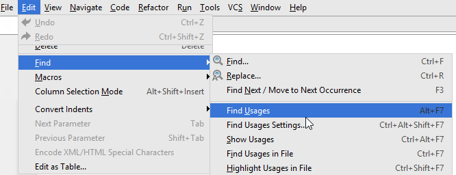 find usages on the context menu