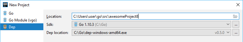 go create dep project
