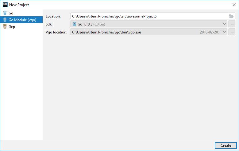 goland create vgo project