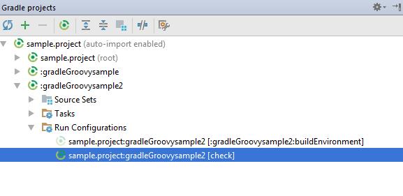 gradle run config task display