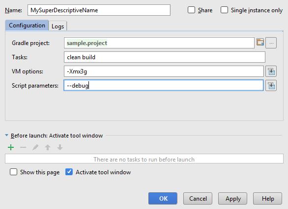 gradle run debug config settings