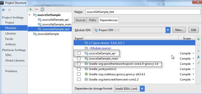 gradle source sets dependencies