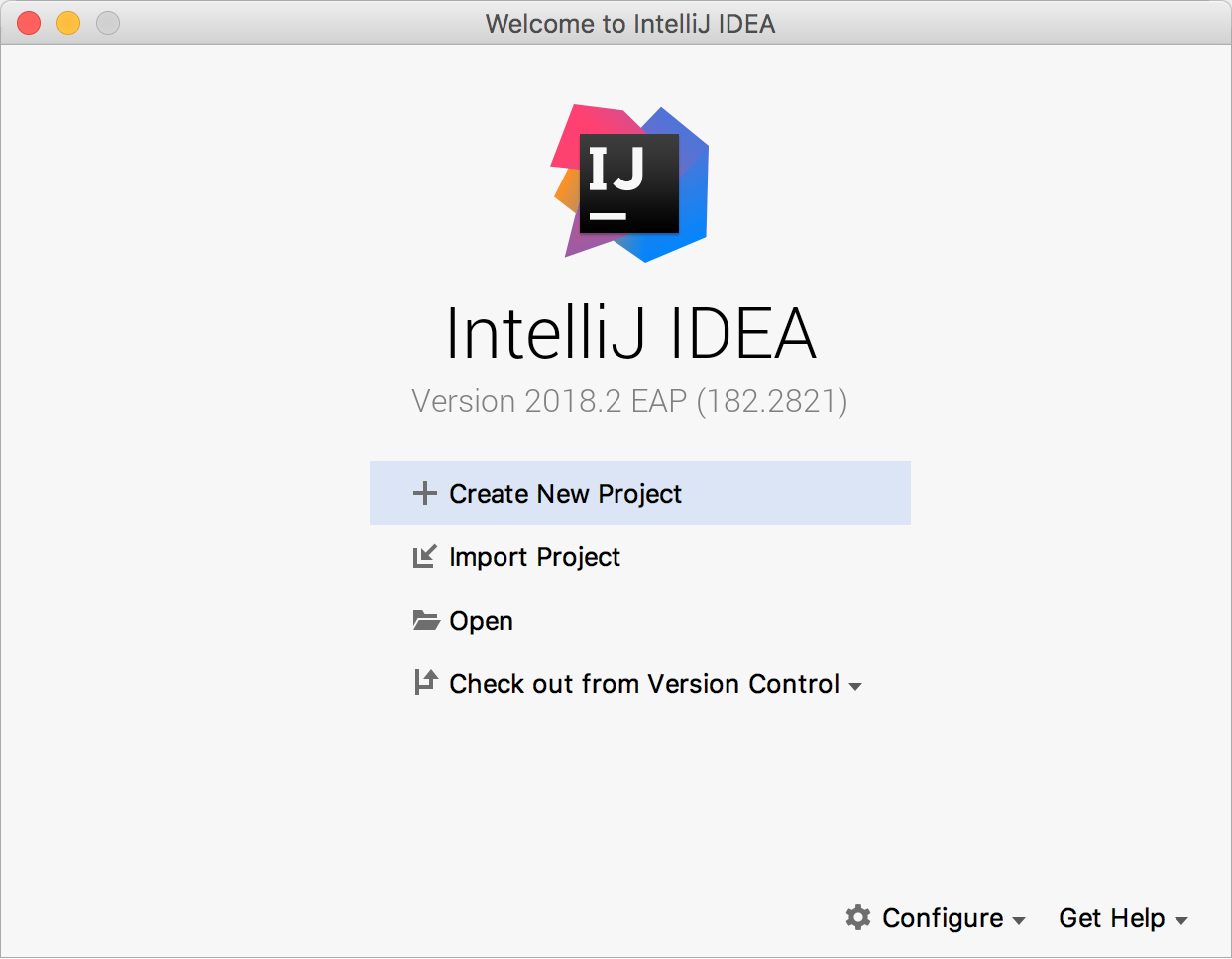 IntelliJ Welcome Screen