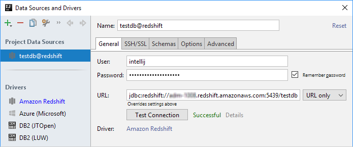 ijDBAmazonRedshiftConnectionSuccessful