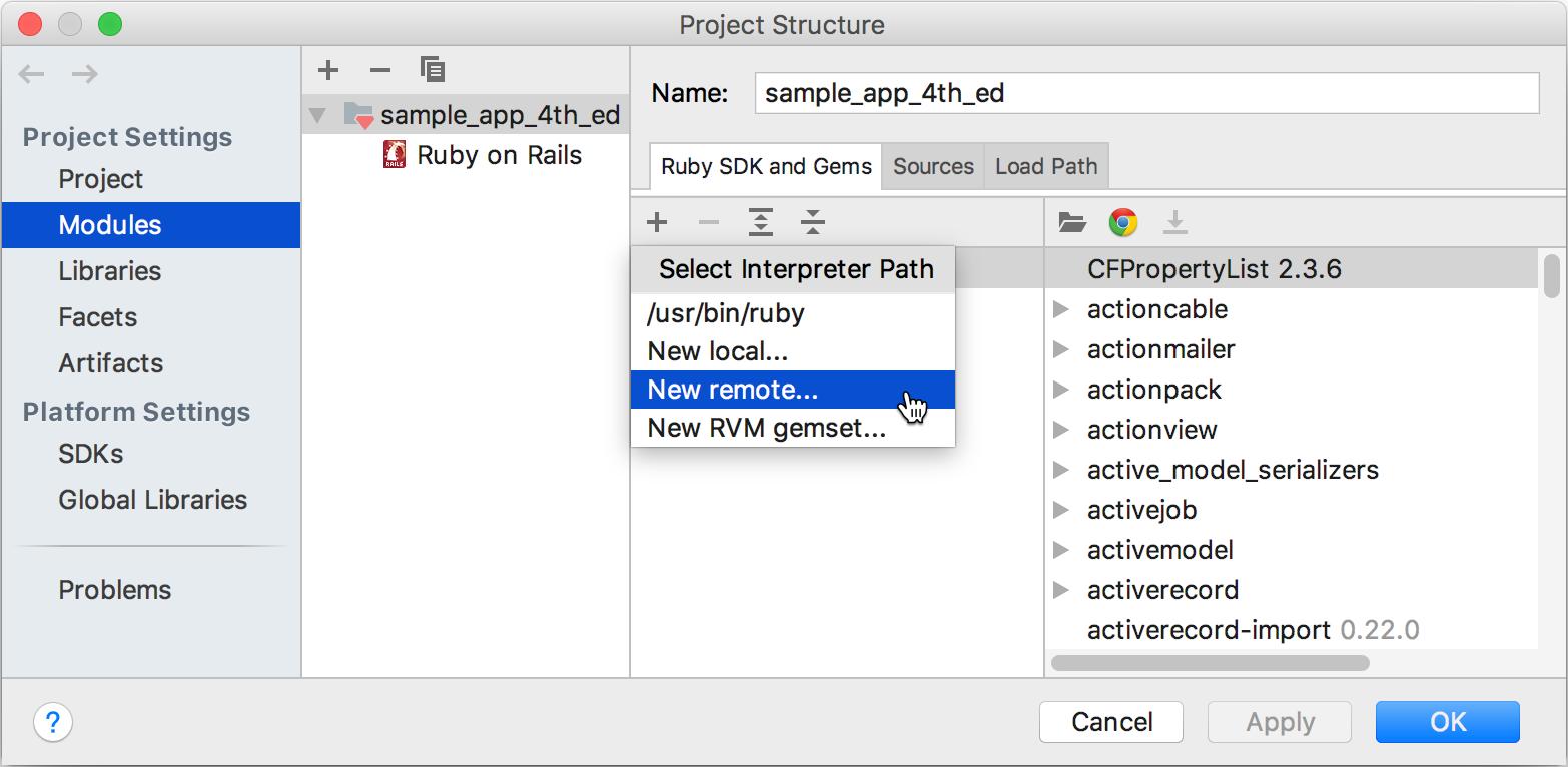 ij add remote ruby interpreter