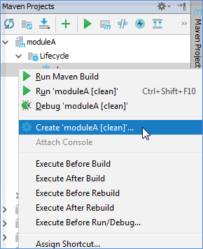 maven tool window context menu