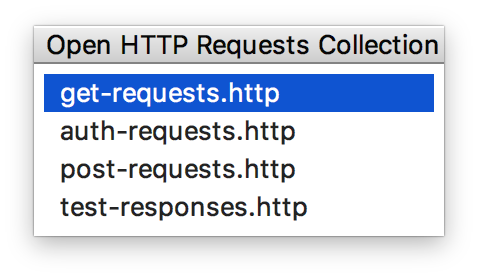 Open HTTP Requests Collection popup