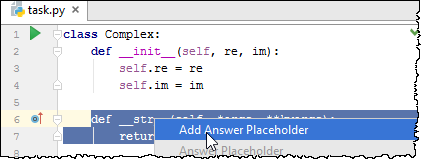 pe add answer placeholder1