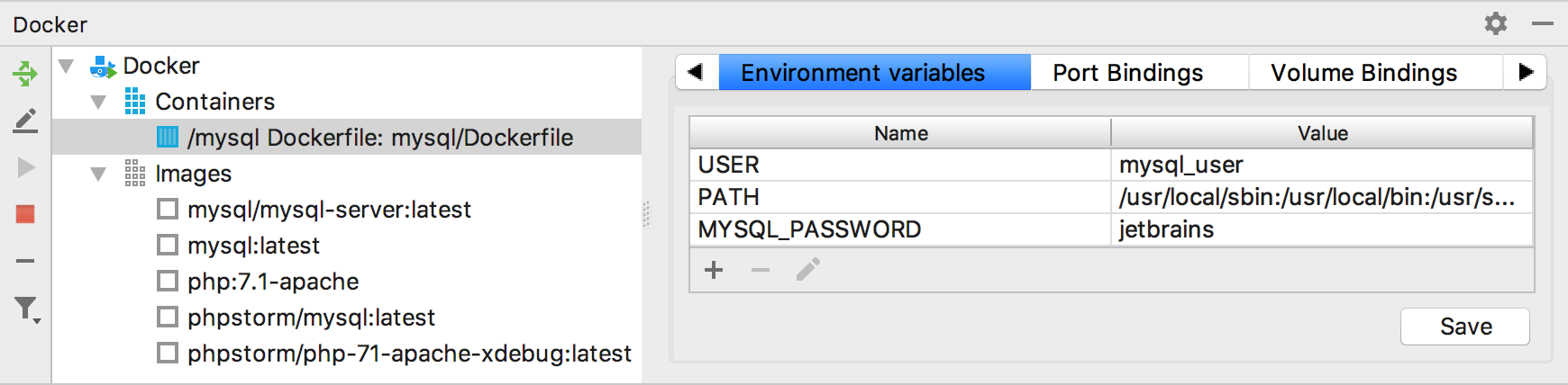 The Environment Variables tab