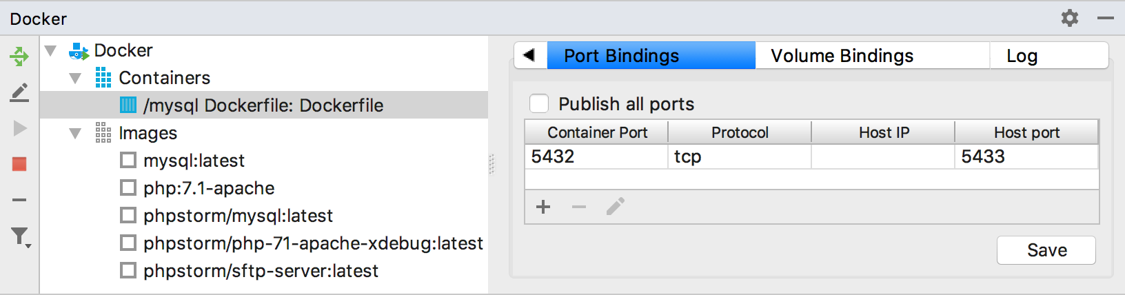 The Port Bindings tab
