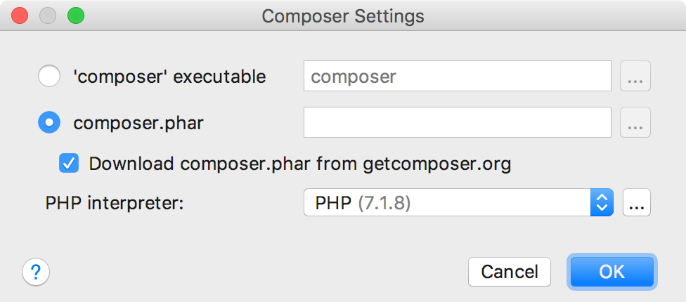 ps composer settings dialog