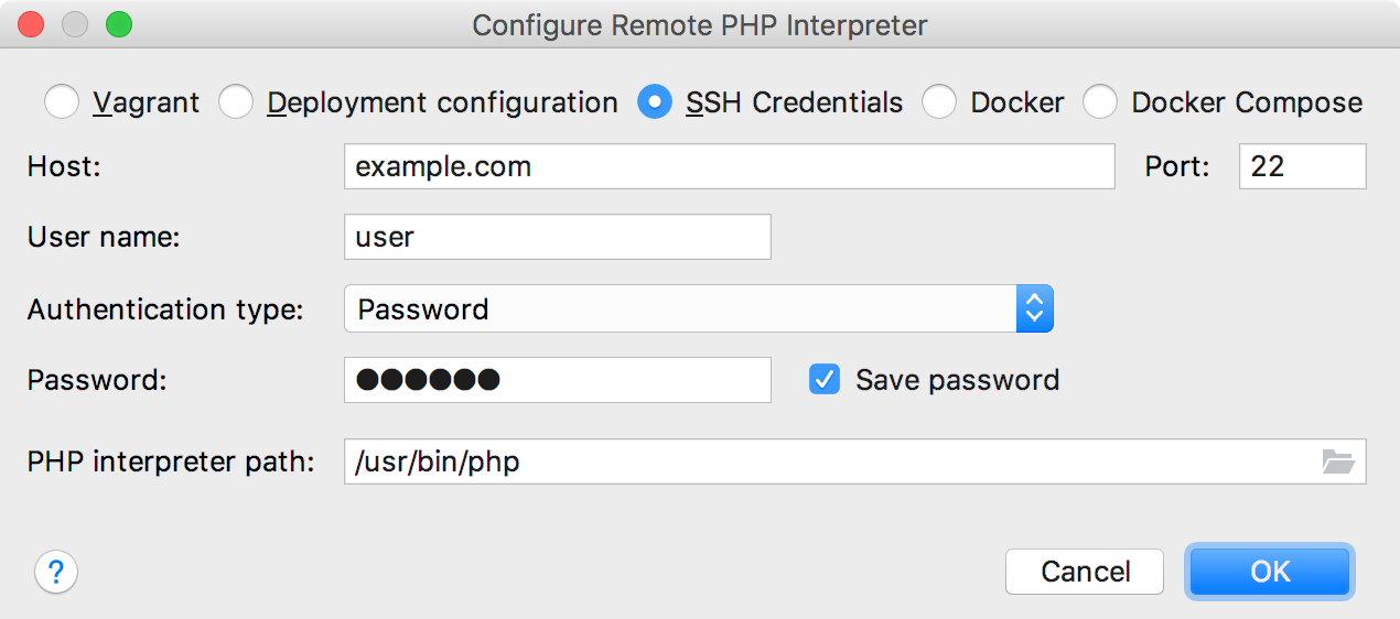 Remote interpreter via SSH Credentials dialog
