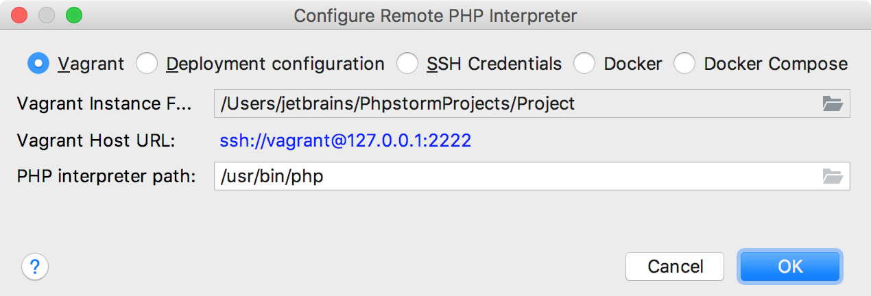 Remote interpreter via Vagrant dialog