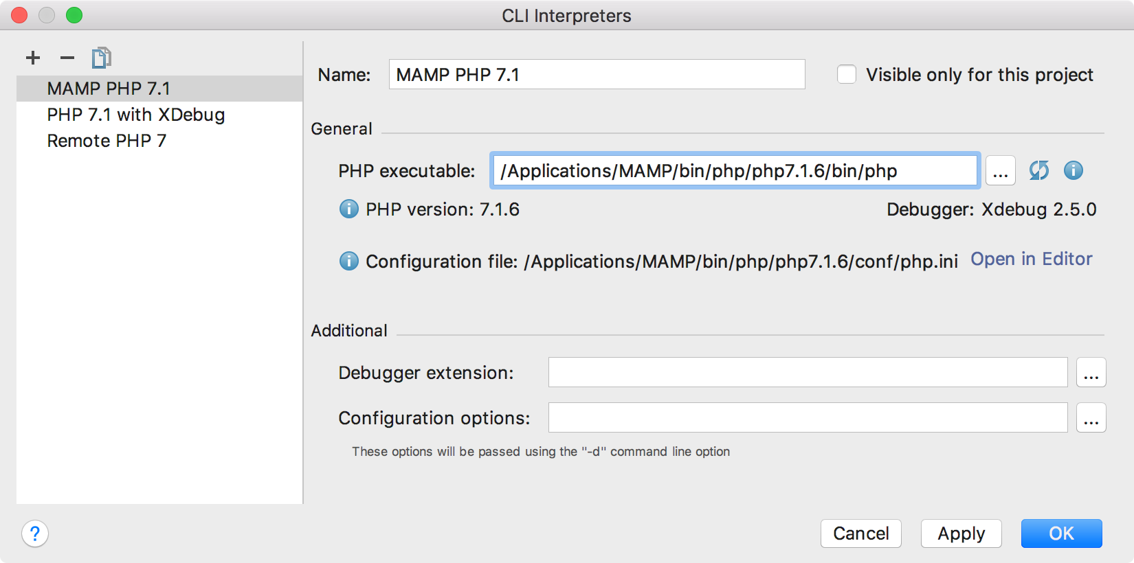 ps mamp interpreters dialog