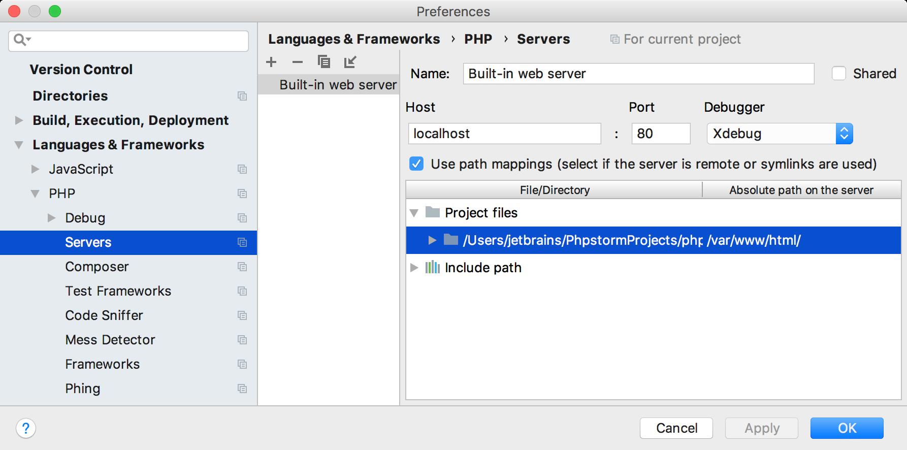 ps php debug server mappings