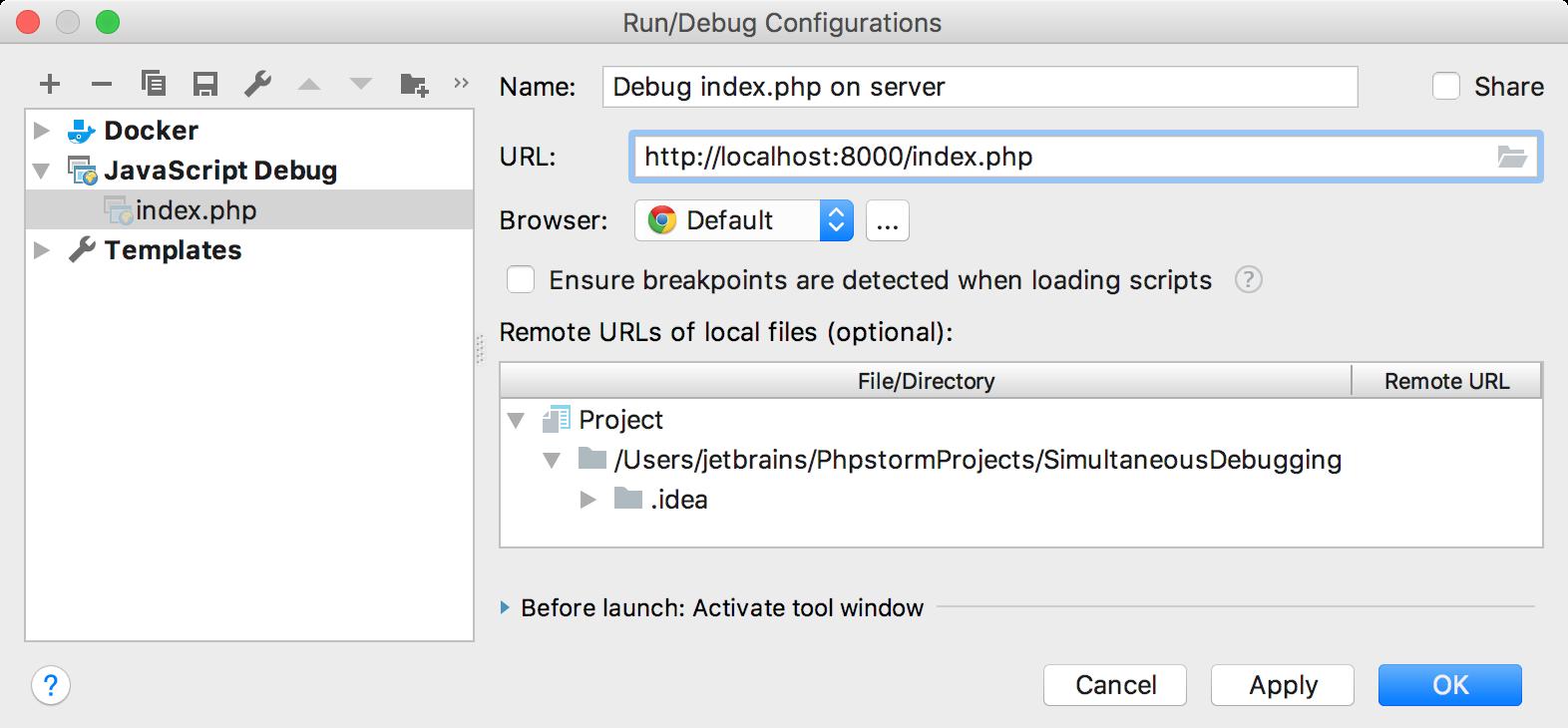 ps run js debugger configuration
