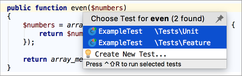 ps run tests selection