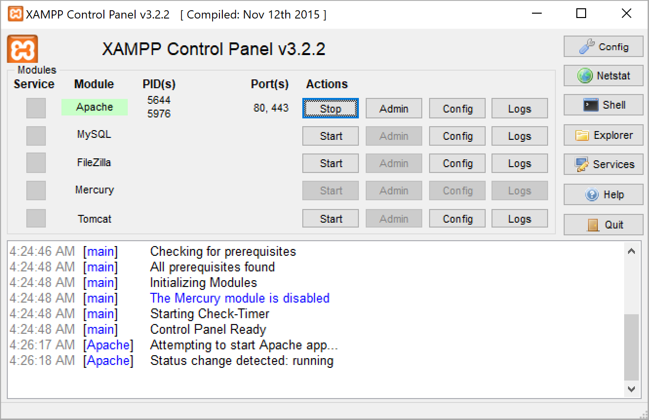 ps xampp start servers