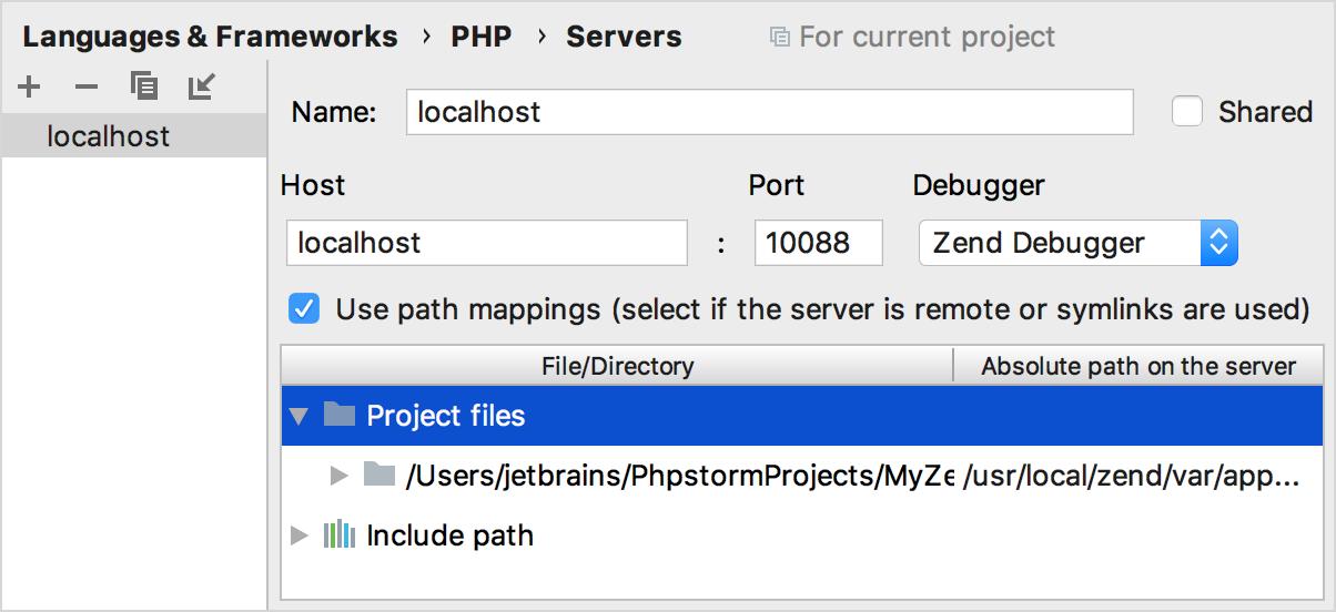 ps zend settings servers