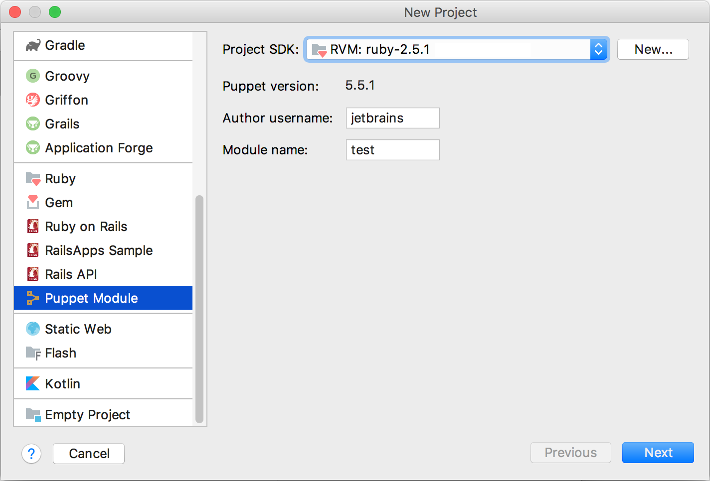 puppet new project dialog plugin