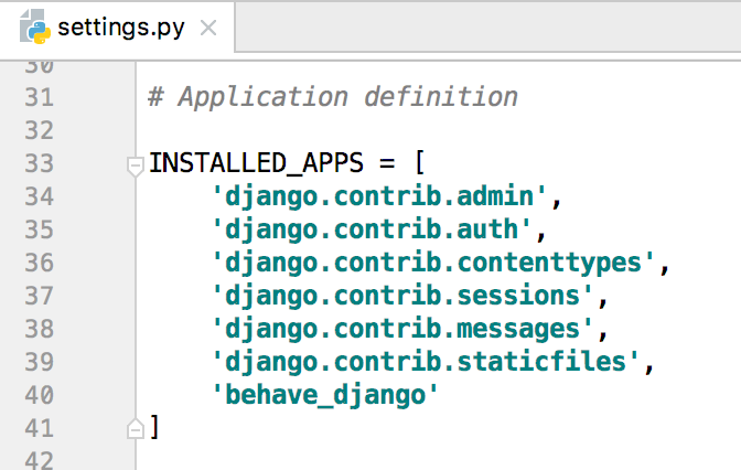 enabling behave-django integration in the settings.py file