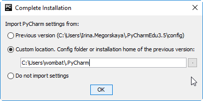 py complete installation dialog