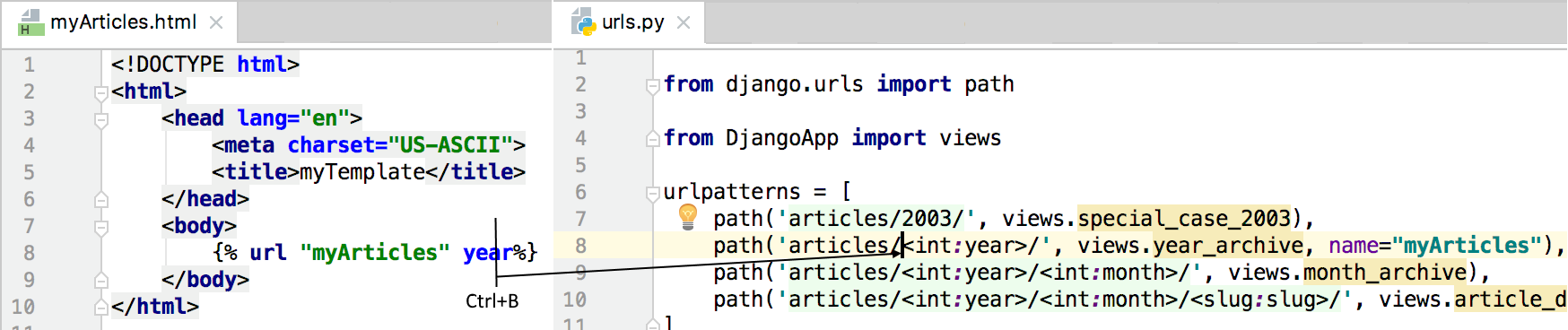 Navigation and Completion for Named URL Tags in Django Templates ...