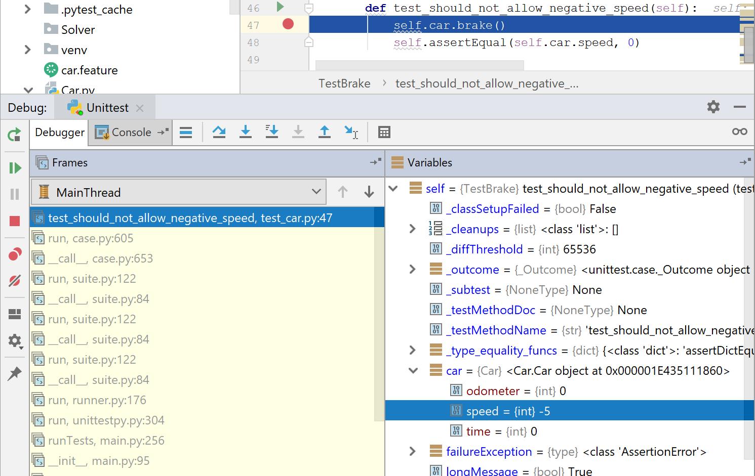 py test debug output