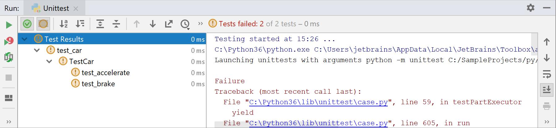 py tests fail