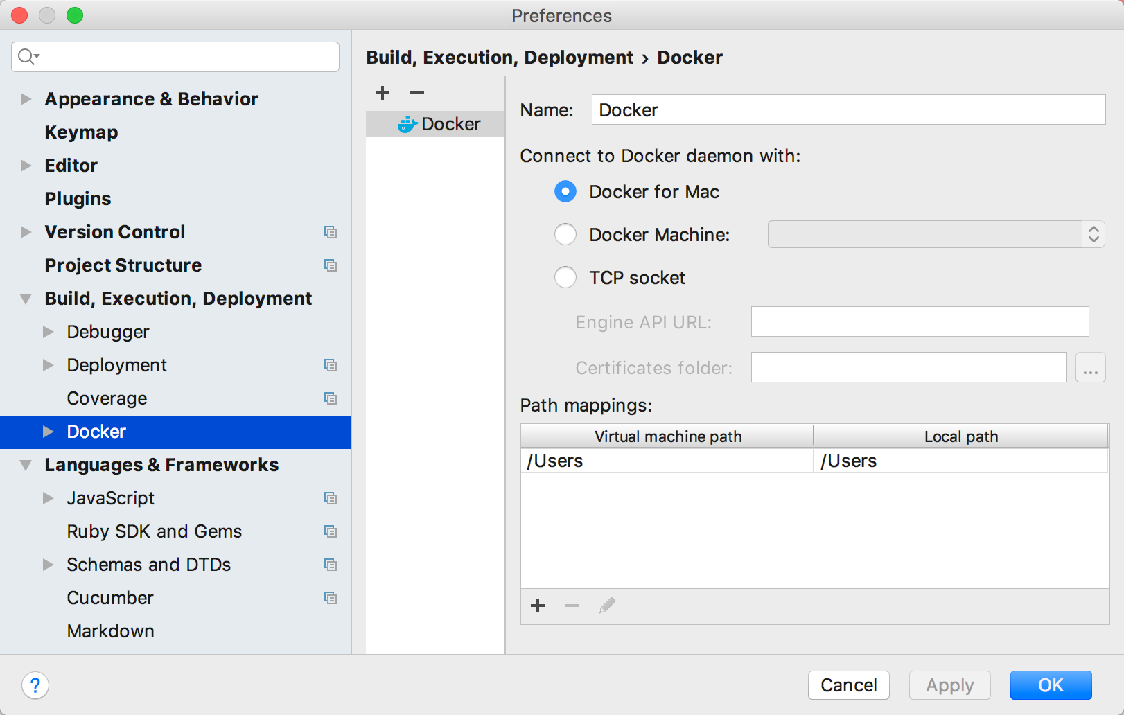 rm docker settings