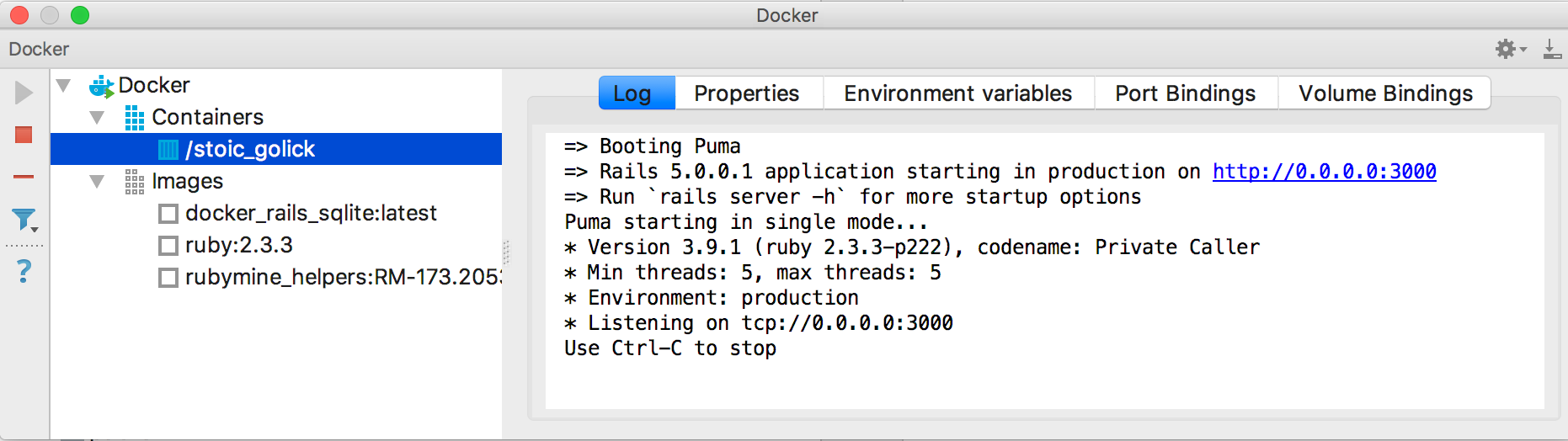 rm docker tool window