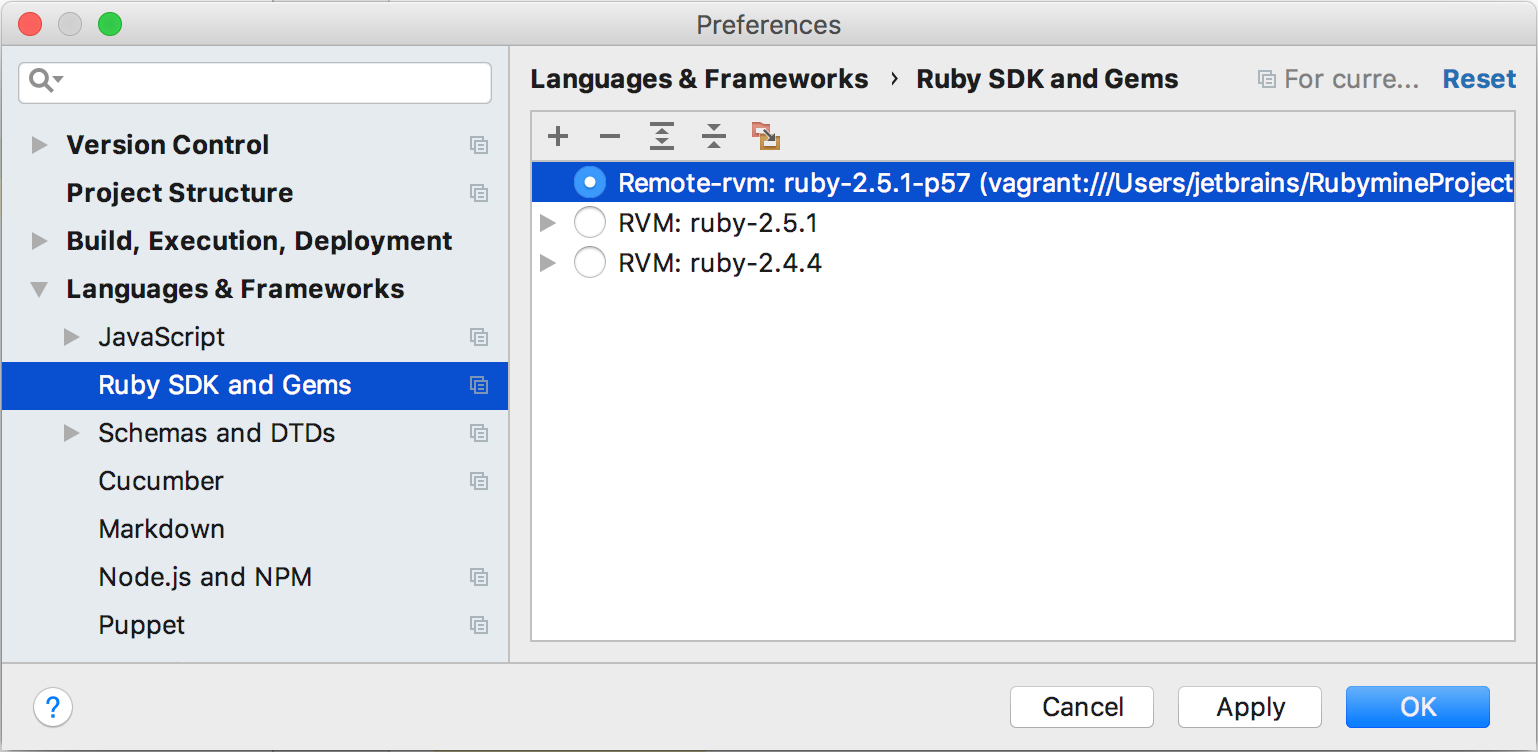 rm remote sdk vagrant gems page