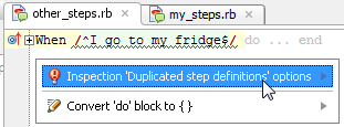 ruby cucumber duplicatedStepDefinition