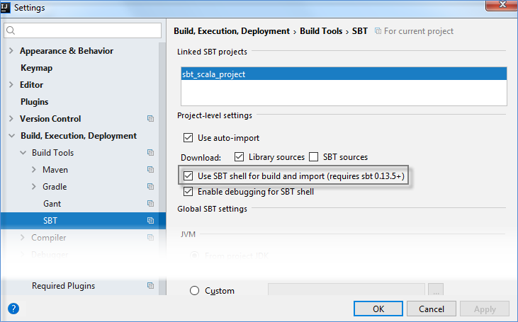 sbt settings for running sbt shell