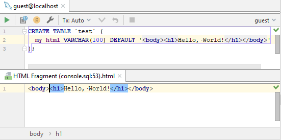sql injected html editor