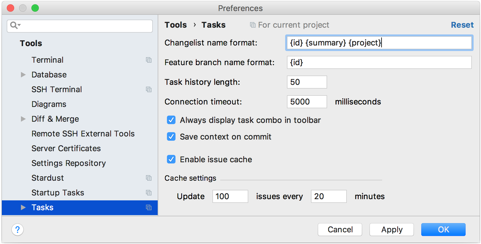 tasks settings