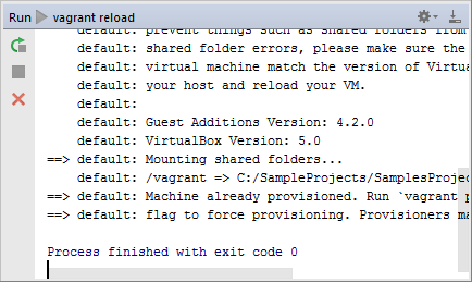 vagrant reload result