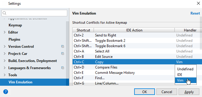 vim emulation shortcut