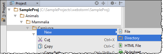web ide create new directories