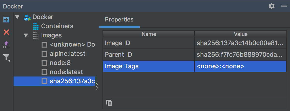 Docker images without tags