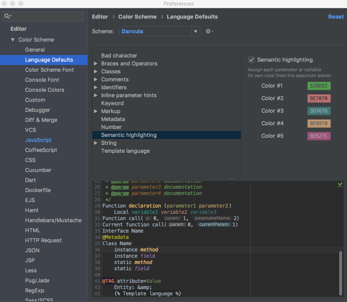 ws configure colors and fonts settings editor language semantic highlighting