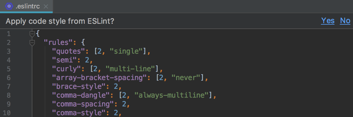 CLion suggests importing the code style from ESLint