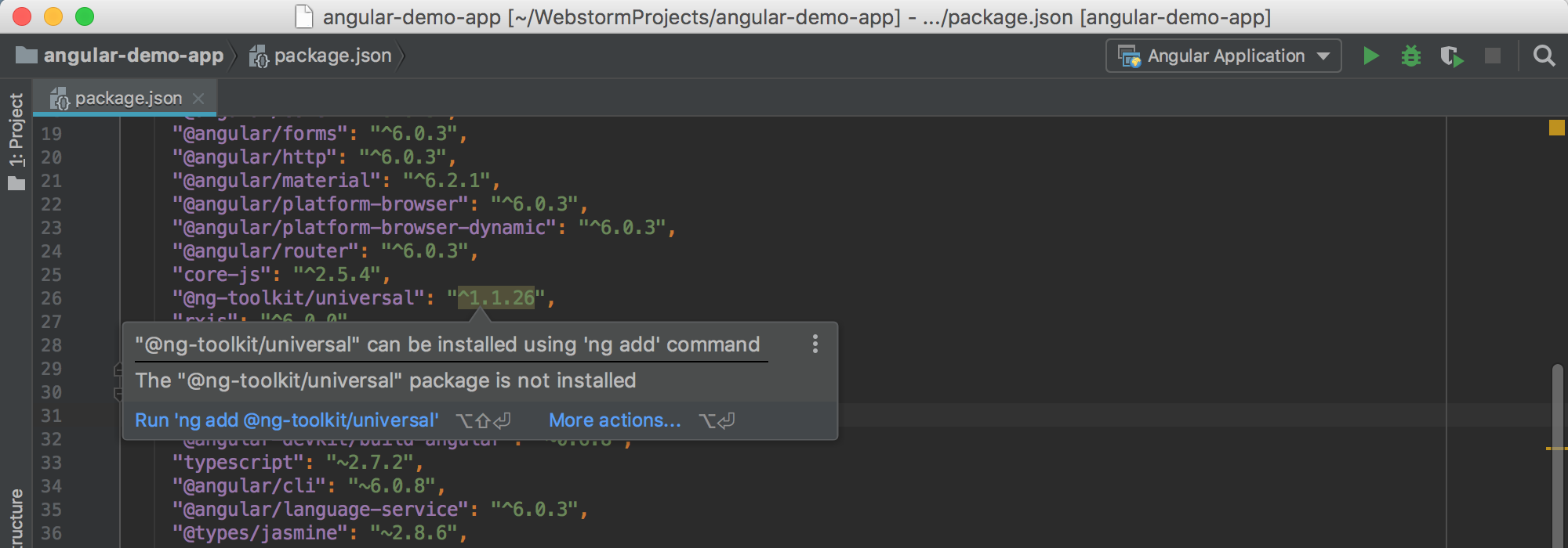 PyCharm suggests adding a dependency with ng add