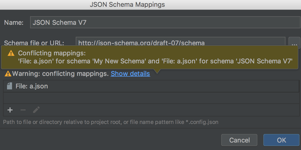 Notification about conflicting schema scopes in Settings/Preferences dialog