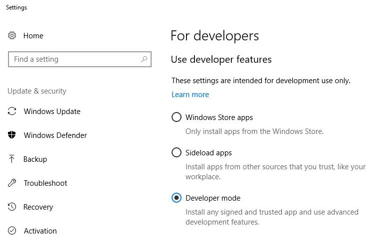 wsl developer mode