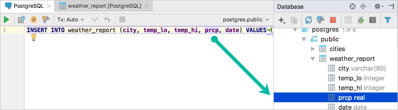 Navigate to Database tree