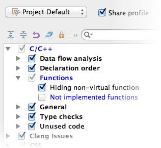 Code inspection settings