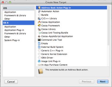 AppCode Create New Target